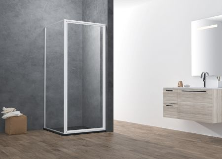 ATMAN promotional  pivot shower door with 4mm one door opening inwards and outwards  magetinc profile handle and white painting finish