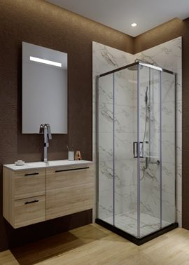 ATMAN corner shower enclosures two sliding doors open and two fixed glass with 6mm clear tempered glass shower cubicle chromed profile