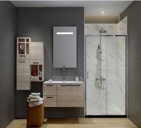 ATMAN two sliding shower doors one sliding door and one fixed glass with 6mm clear tempered glass chrome finish with low profile