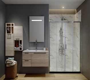 ATMAN four sliding shower doors two sliding door and two fixed glass with 6mm clear tempered glass chrome finish with low profile