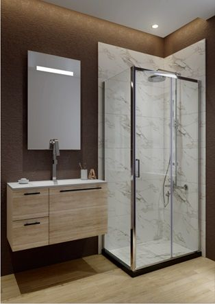 Side panel fixed panel with 6mm tempered safety glass to use alone or combined with shower doors chromed finish